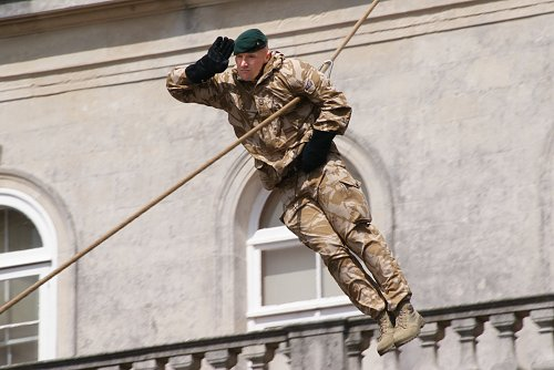 marine sliding rope and saluting
